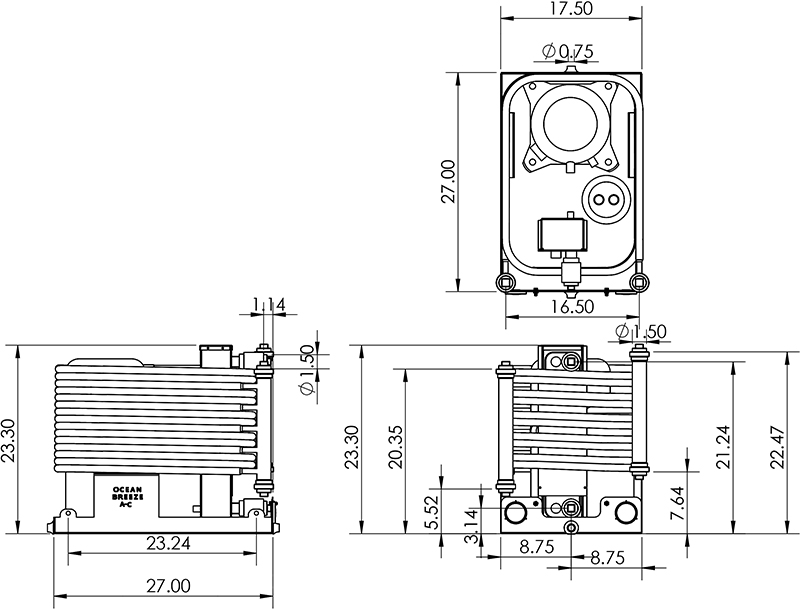 Dimensions for a 10 Ton Chiller (CW120)