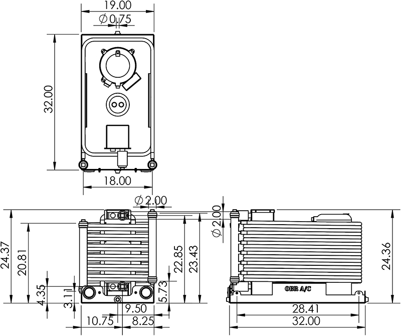 Dimensions for a 15 Ton Chiller (CW180)